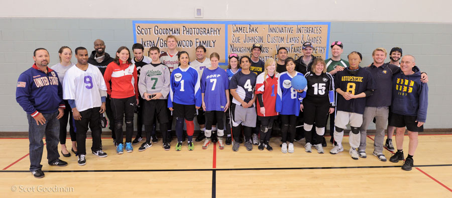 Goalball players and referees at the tournament.
