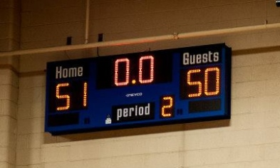photo of scoreboard: BORP 51, Utah 50